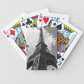 Torre Eiffel negra y blanca en París Baraja De Cartas Bicycle