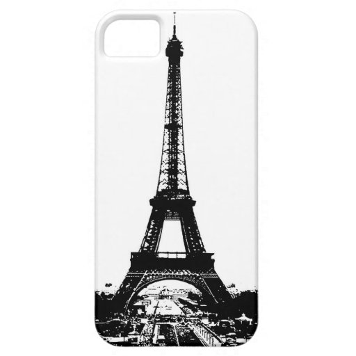 Torre Eiffel negra y blanca iPhone 5 Case-Mate Funda