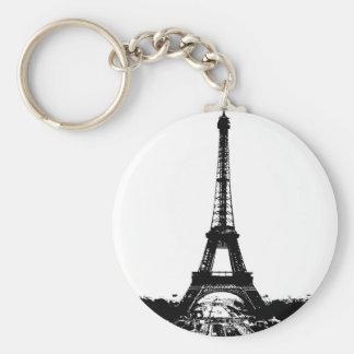 Torre Eiffel negra y blanca Llavero Redondo Tipo Pin