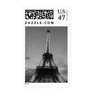Torre Eiffel negra y blanca París Sello Postal