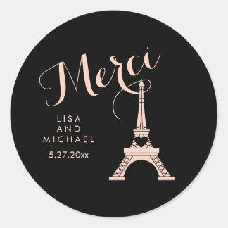 Torre Eiffel negra y rosada de París que casa Pegatina Redonda
