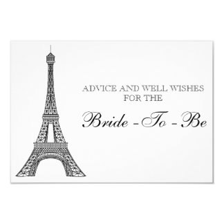 """Torre Eiffel nupcial París de la tarjeta del Invitación 3.5"""" X 5"""""""