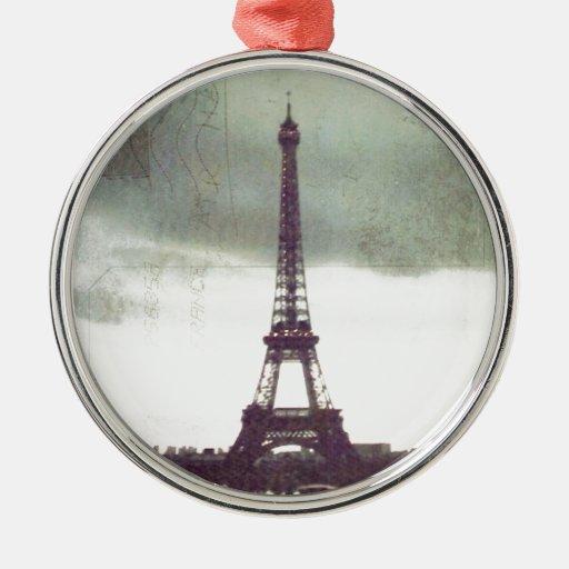 Torre Eiffel, París Adorno Redondo Plateado