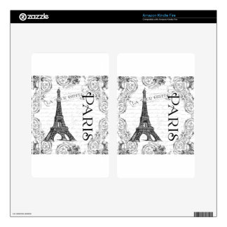 Torre Eiffel París blanco y negro Kindle Fire Skins