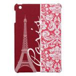 Torre Eiffel, París, damasco rojo iPad Mini Cárcasas
