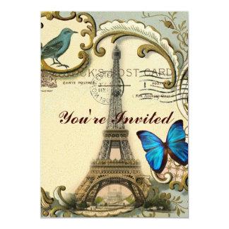 """Torre Eiffel París de la mariposa de los remolinos Invitación 5"""" X 7"""""""