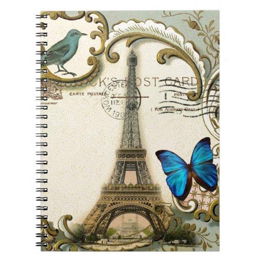 Torre Eiffel París de la mariposa de los remolinos Libro De Apuntes Con Espiral