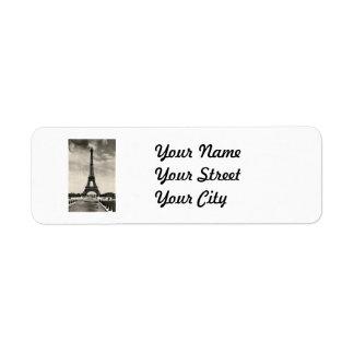 Torre Eiffel París del vintage Etiqueta De Remite