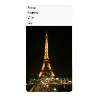 Torre Eiffel, París Etiquetas De Envío