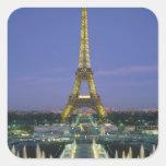 Torre Eiffel, París, Francia 2 Calcomania Cuadradas Personalizada
