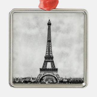 Torre Eiffel París Francia Adorno Navideño Cuadrado De Metal
