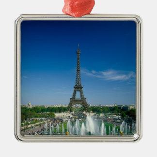 Torre Eiffel, París, Francia Adorno Navideño Cuadrado De Metal