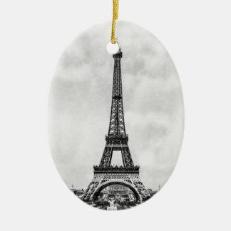 Torre Eiffel París Francia Adorno Navideño Ovalado De Cerámica