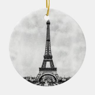 Torre Eiffel París Francia Adorno Navideño Redondo De Cerámica