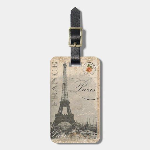 Torre Eiffel parisiense francesa del vintage de la Etiquetas Maleta
