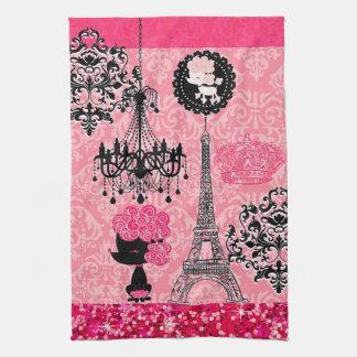 Torre Eiffel, perrito y damasco femeninos francese Toallas De Cocina