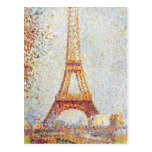 Torre Eiffel por la bella arte de Seurat Tarjetas Postales