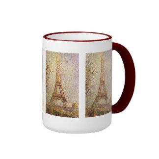 Torre Eiffel por Seurat, arte del Pointillism del Taza A Dos Colores