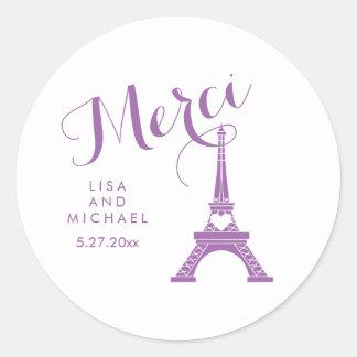 Torre Eiffel púrpura y blanca de París que casa Pegatina Redonda