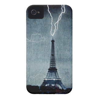Torre Eiffel - rayo 1902 - en azul iPhone 4 Case-Mate Carcasas