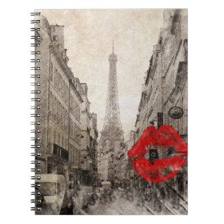 Torre Eiffel romántica de París del vintage Libro De Apuntes