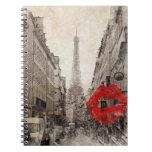 Torre Eiffel romántica de París del vintage Libretas Espirales