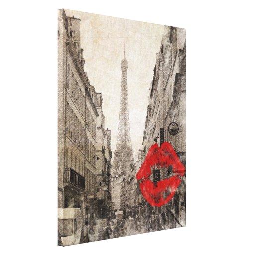 Torre Eiffel romántica de París del vintage Impresion De Lienzo