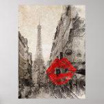 Torre Eiffel romántica de París del vintage Poster