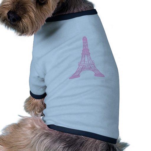 Torre Eiffel rosada Camiseta De Perro