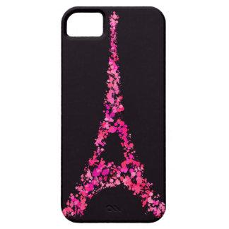 Torre Eiffel rosada con la pintura iPhone 5 Funda