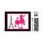 Torre Eiffel rosada de París del caniche de 20 Sello