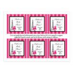 Torre Eiffel rosada de París del caniche de 6 etiq Postales