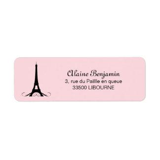 Torre Eiffel rosada de París Etiquetas De Remite