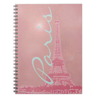 Torre Eiffel rosada del vintage Libreta Espiral