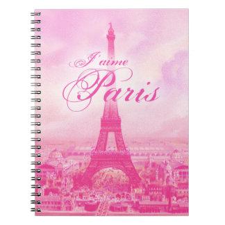Torre Eiffel rosada del vintage Cuadernos