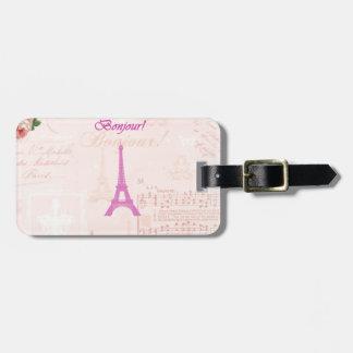 Torre Eiffel rosada del vintage Etiqueta Para Maleta