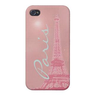 Torre Eiffel rosada del vintage iPhone 4 Fundas