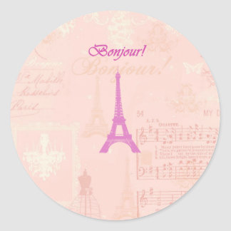 Torre Eiffel rosada del vintage Pegatina Redonda