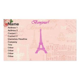 Torre Eiffel rosada del vintage Tarjetas De Visita
