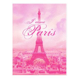Torre Eiffel rosada del vintage Tarjeta Postal