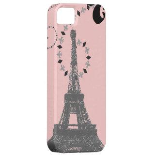torre Eiffel rosada elegante iPhone5 de París del  iPhone 5 Protectores