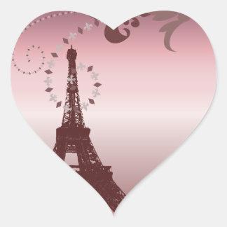 torre Eiffel rosada femenina elegante lamentable Pegatina En Forma De Corazón