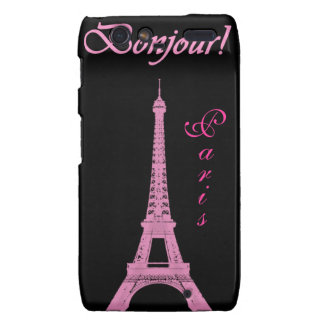 Torre Eiffel rosada femenina París Motorola Droid RAZR Carcasas