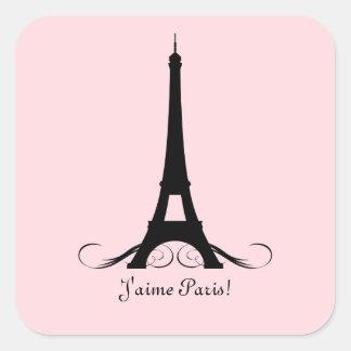 ¡Torre Eiffel rosada J'aime París! Calcomanías Cuadradases
