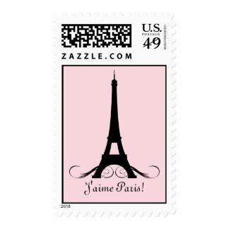 ¡Torre Eiffel rosada J'aime París! Timbre Postal