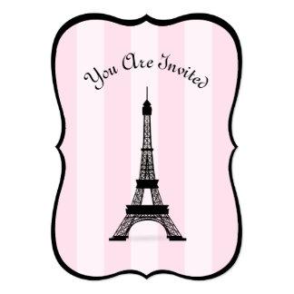 """Torre Eiffel rosada parisiense elegante del negro Invitación 5"""" X 7"""""""