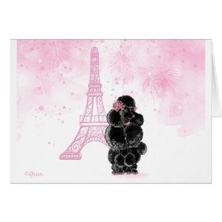 Torre Eiffel rosada y caniche negro Tarjeta De Felicitación