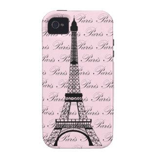 Torre Eiffel rosada y negra de París Case-Mate iPhone 4 Funda