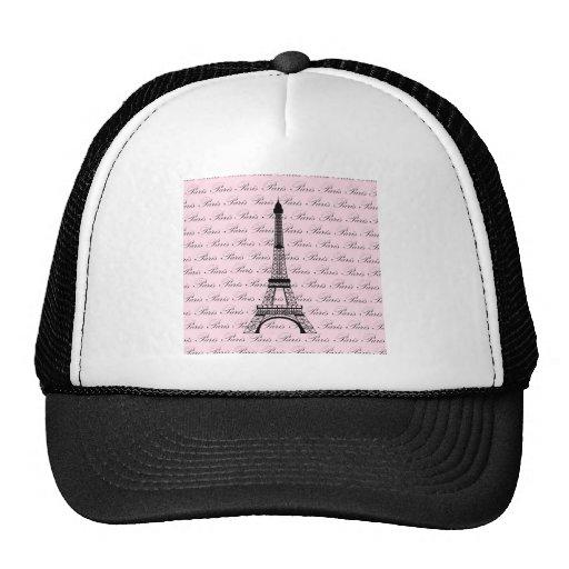 Torre Eiffel rosada y negra de París Gorros Bordados