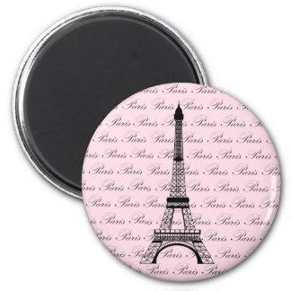 Torre Eiffel rosada y negra de París Imán Redondo 5 Cm